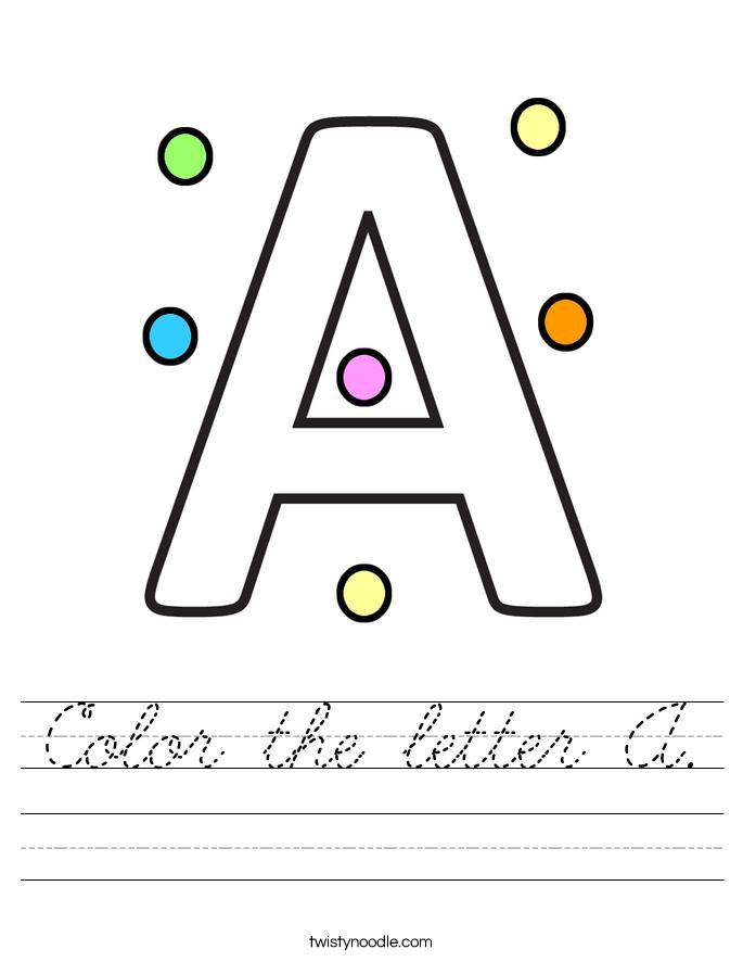 Color the letter A. Worksheet