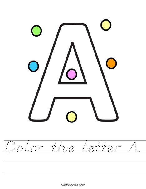 Color the letter A Worksheet