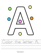 Color the letter A Handwriting Sheet