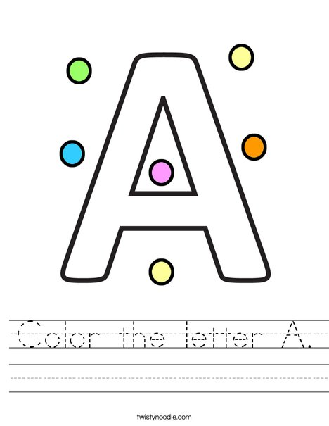 Color the letter A Worksheet