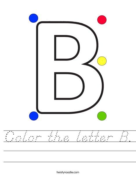 Color the letter B Worksheet
