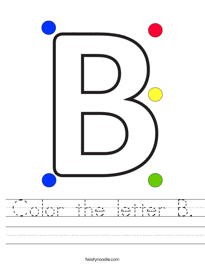Color the letter B Worksheet - Twisty Noodle