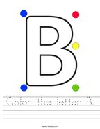 Color the letter B Handwriting Sheet
