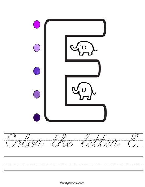 Color the letter E. Worksheet