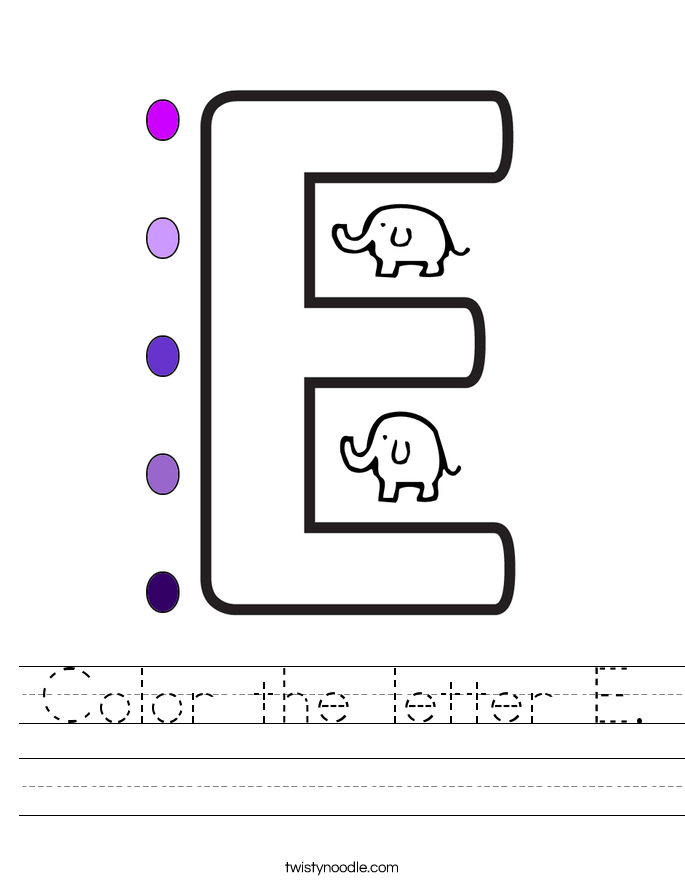 Color the letter E. Worksheet