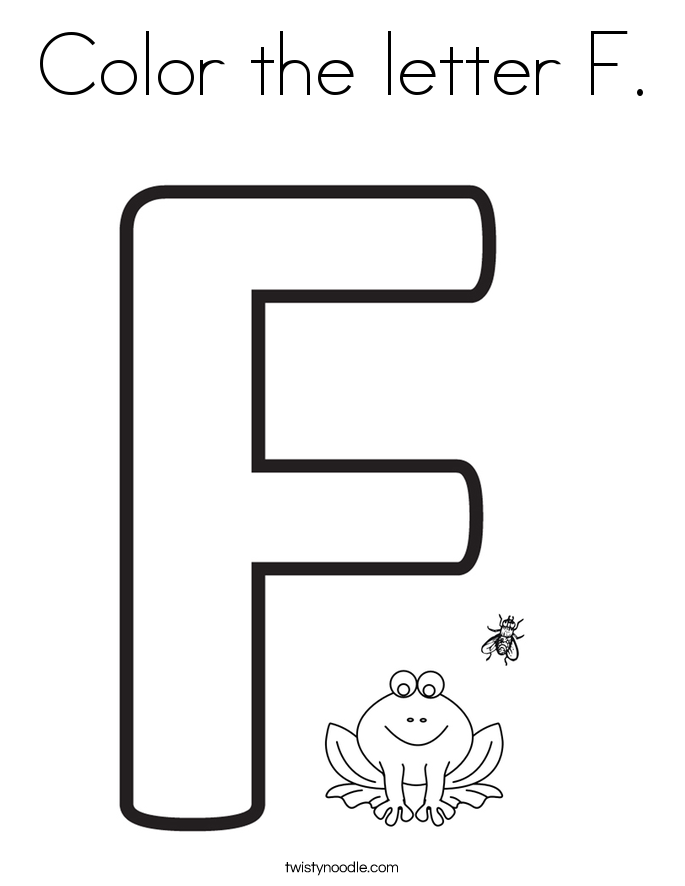 Color The Letter F 2 Coloring Page on Writing Worksheets Numbers