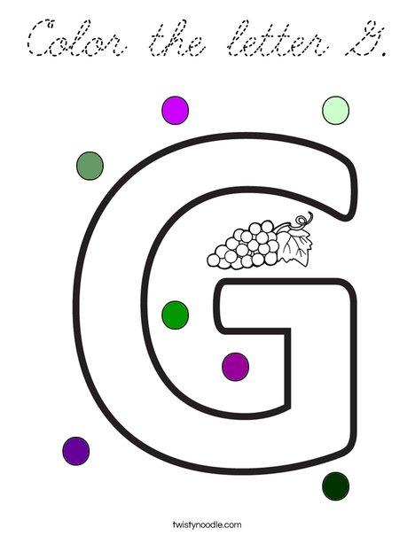 Color the letter G Coloring Page - Cursive - Twisty Noodle