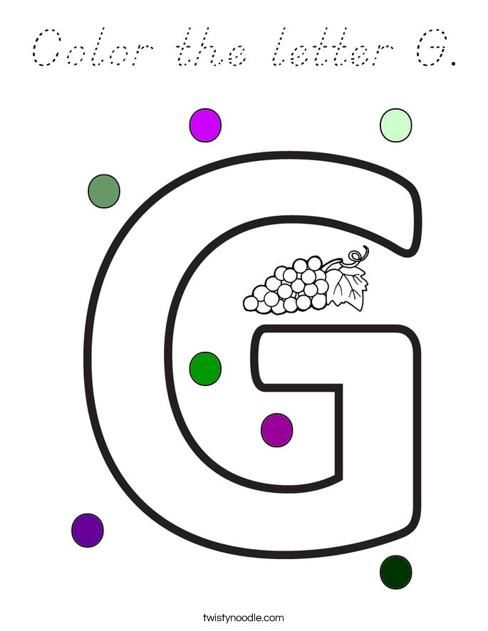 Color the letter G Coloring Page - D'Nealian - Twisty Noodle