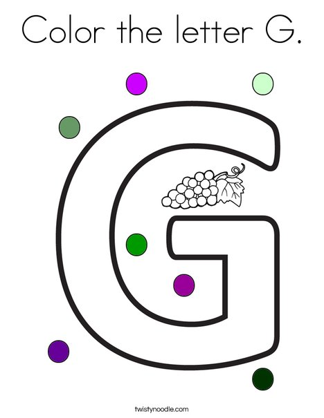 Color the letter G Coloring Page - Twisty Noodle