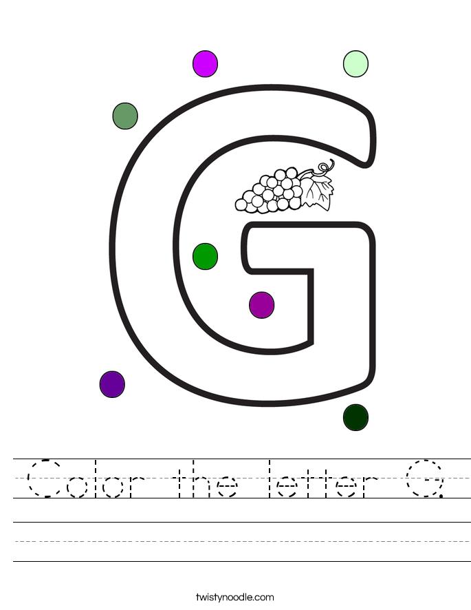 color the letter g worksheet twisty noodle. Black Bedroom Furniture Sets. Home Design Ideas