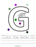 Color the letter G Handwriting Sheet