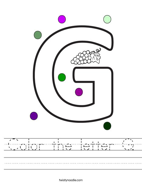 Color the letter G. Worksheet