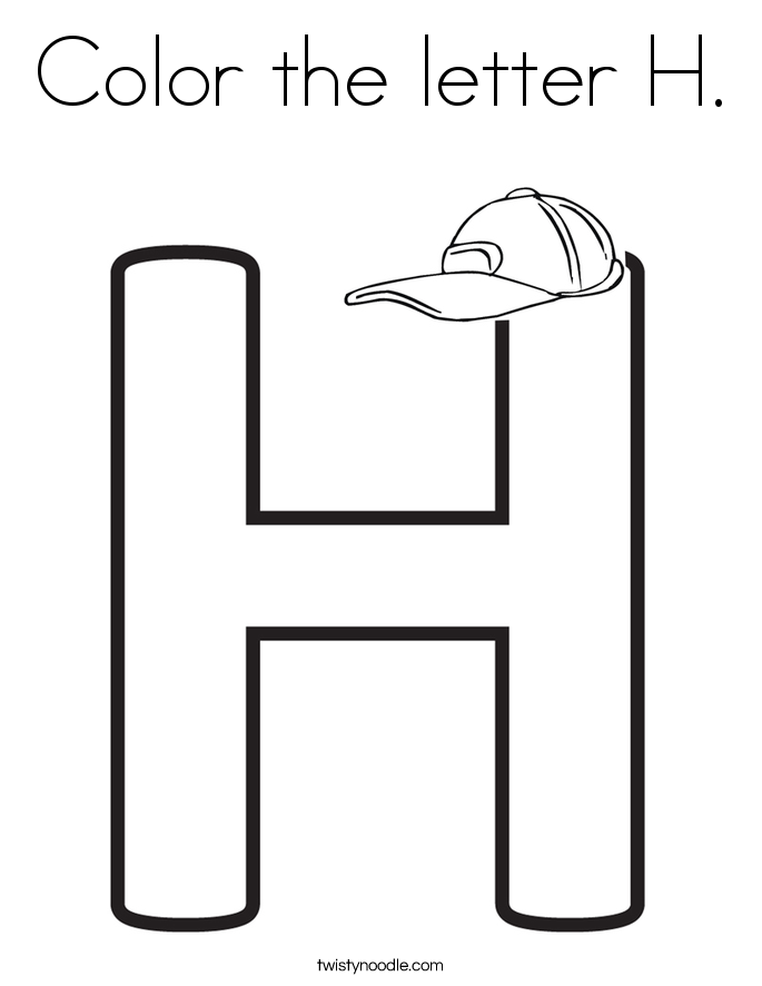 color the letter h coloring page