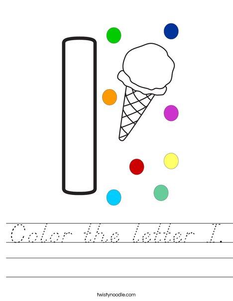 Color the letter I. Worksheet
