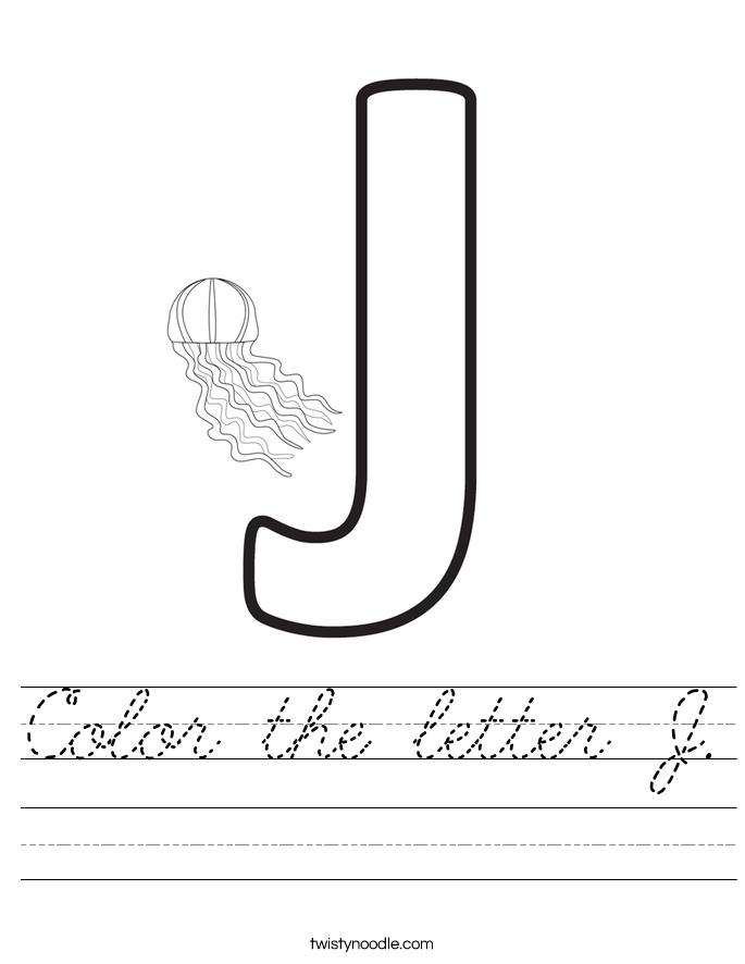 Color the letter J. Worksheet