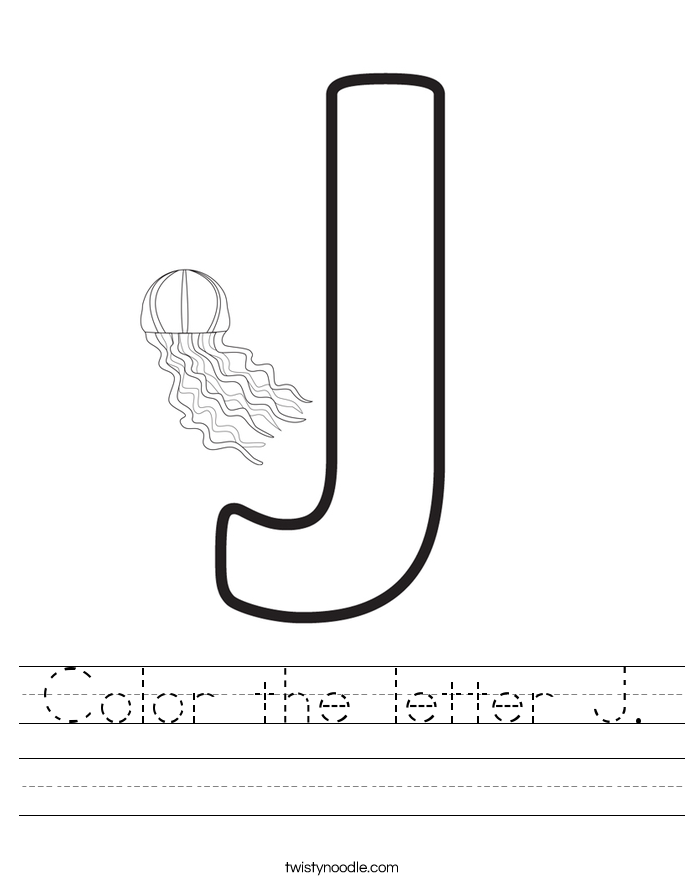 Color the letter J. Worksheet