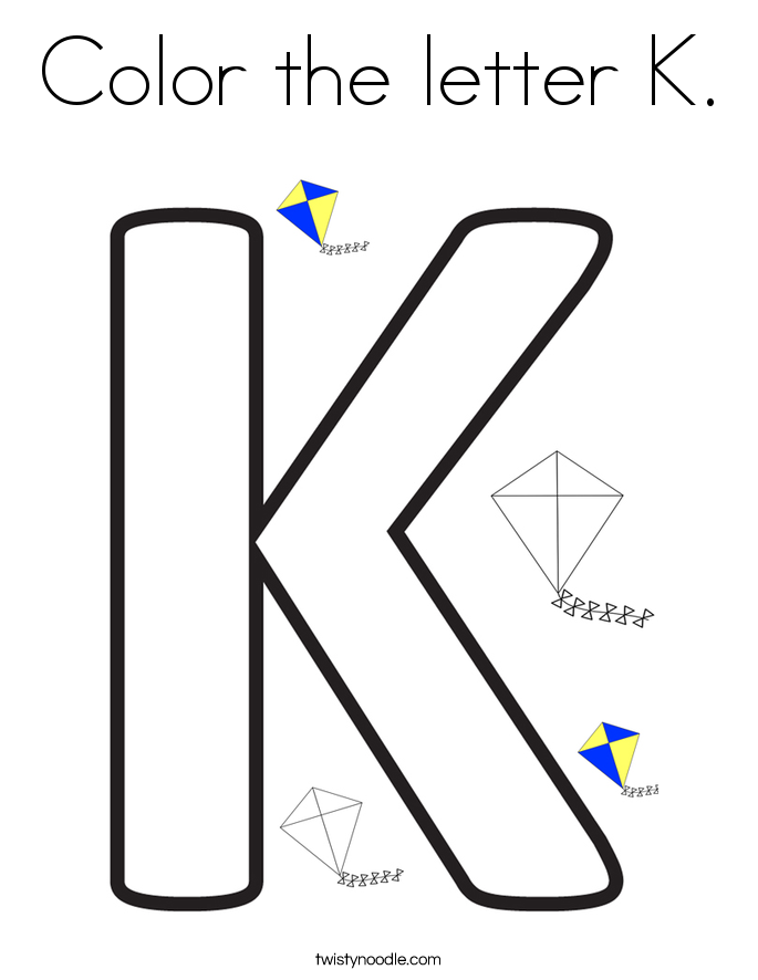 Color the letter K Coloring Page - Twisty Noodle