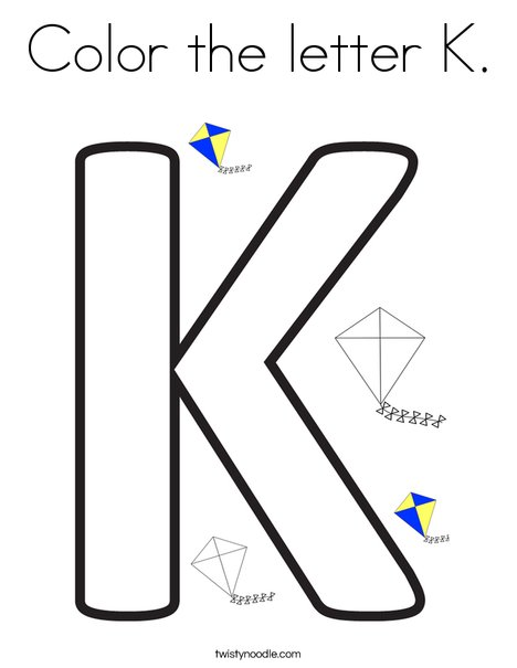Color the letter K Coloring Page   Twisty Noodle