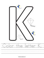 Color the letter K Handwriting Sheet