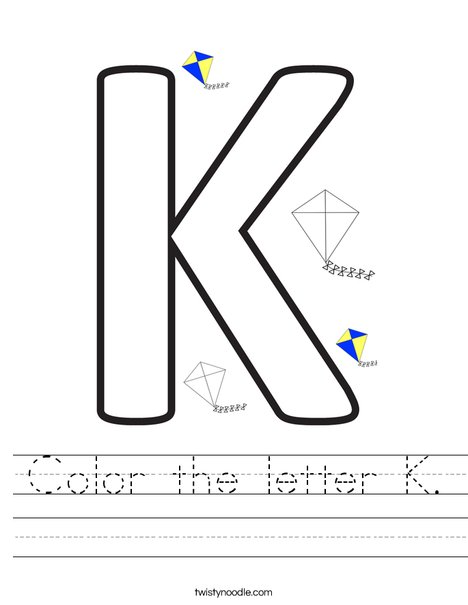 Color the letter K. Worksheet