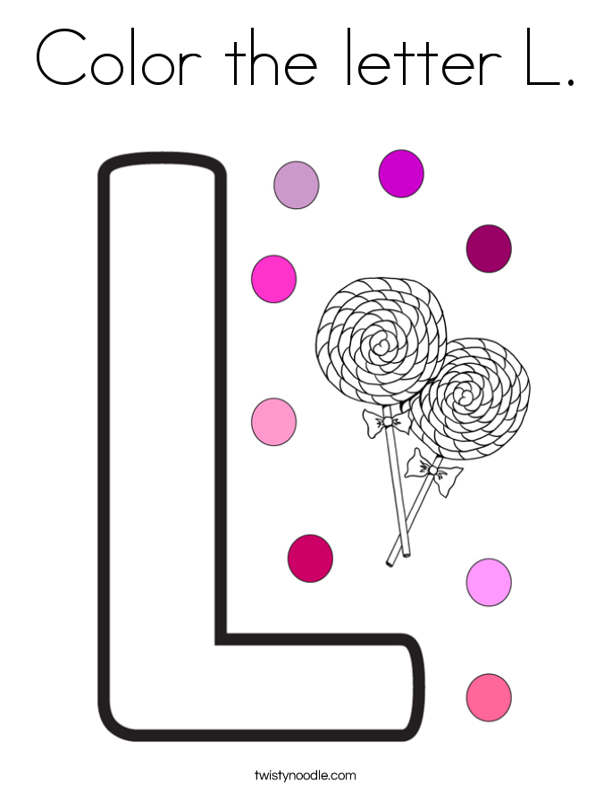 color the letter l coloring page