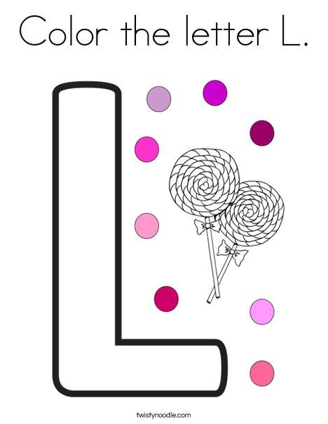 Color the letter L Coloring Page - Twisty Noodle