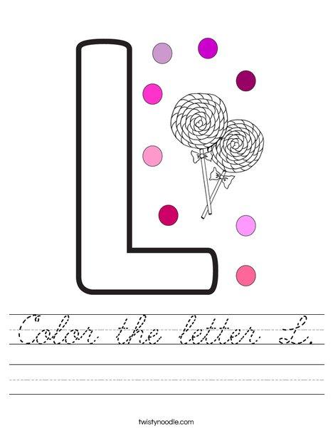 Color the letter L. Worksheet