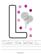 Color the letter L Handwriting Sheet