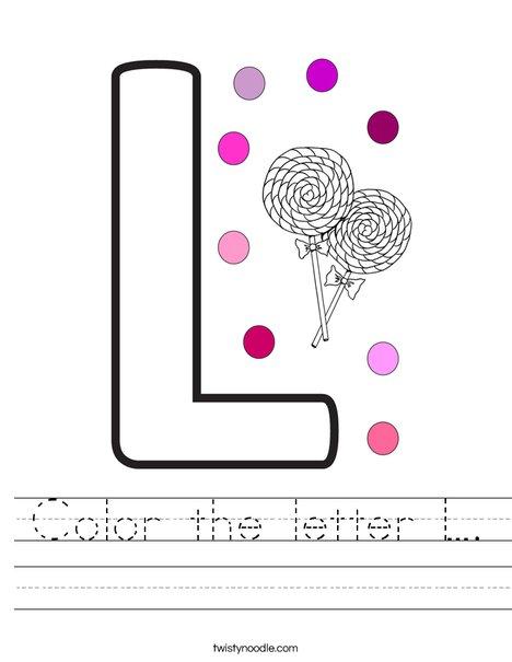 color the letter l worksheet twisty noodle. Black Bedroom Furniture Sets. Home Design Ideas