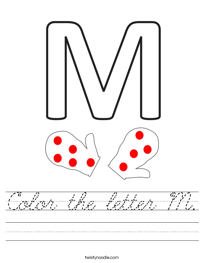 Color the letter M. Worksheet