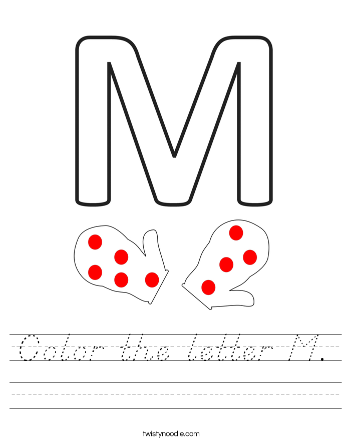 Color the letter M. Worksheet