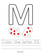 Color the letter M Handwriting Sheet