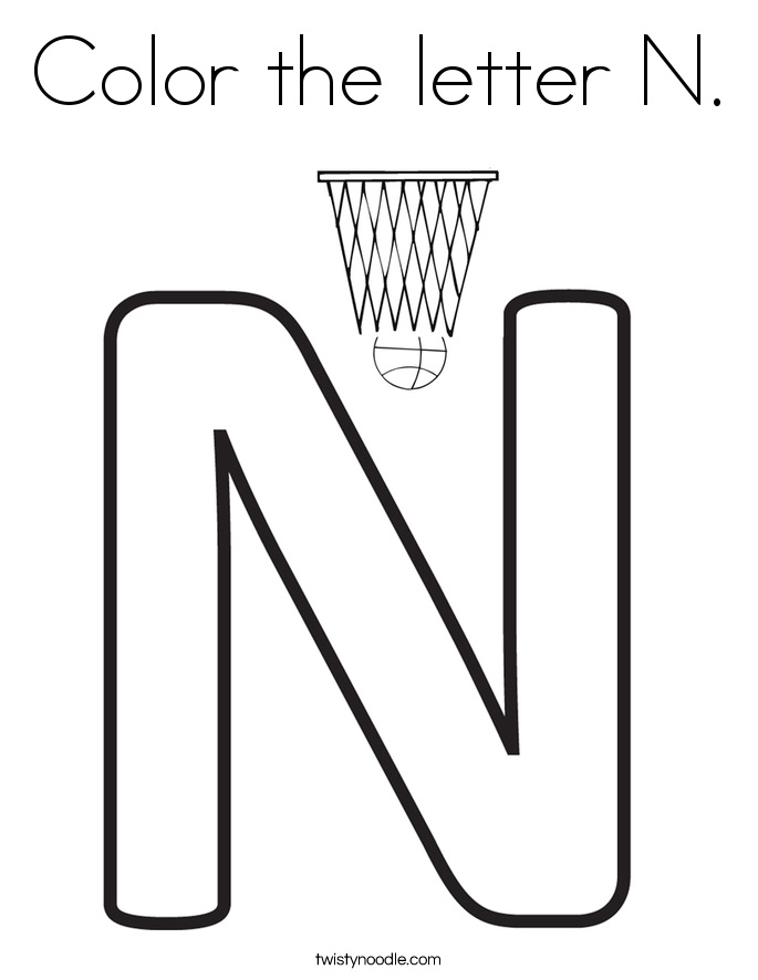 Letter N Coloring Pages - Twisty Noodle