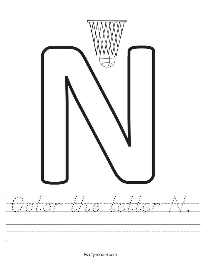 Color the letter N. Worksheet