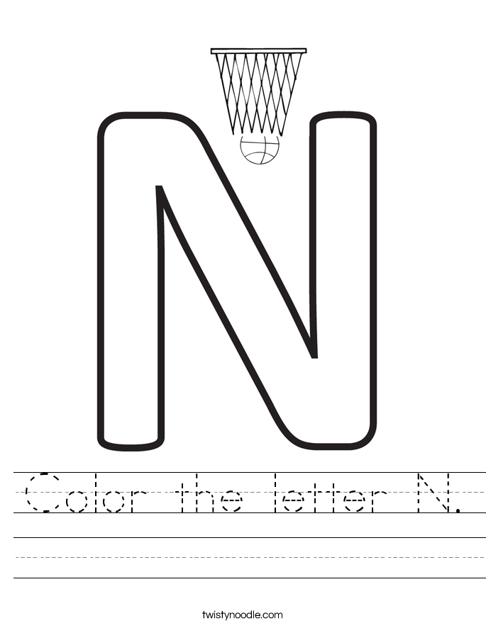 Color the letter N. Worksheet
