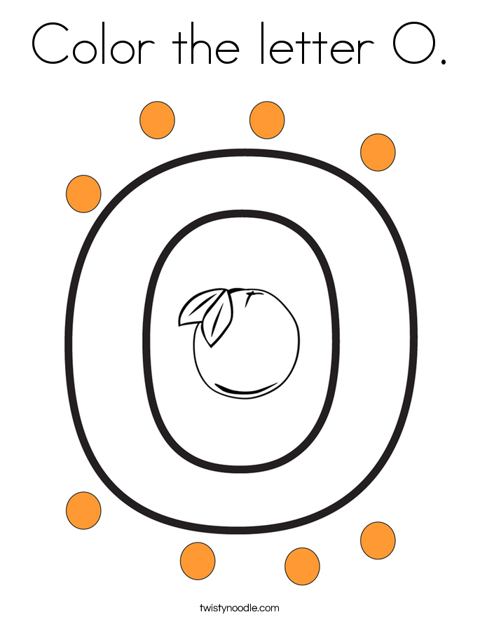 color the letter o coloring page