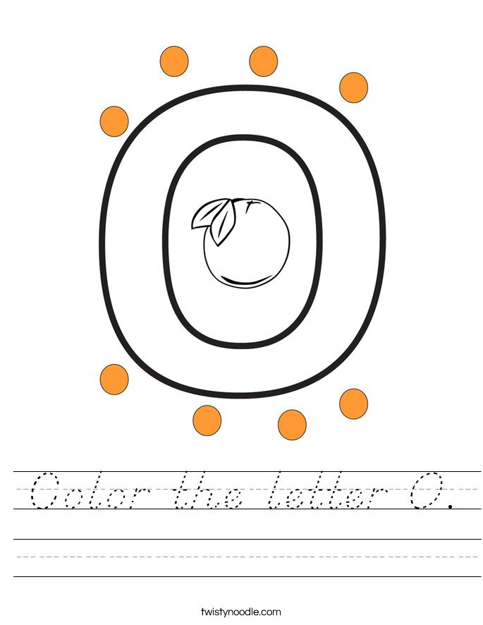 Color the letter O. Worksheet