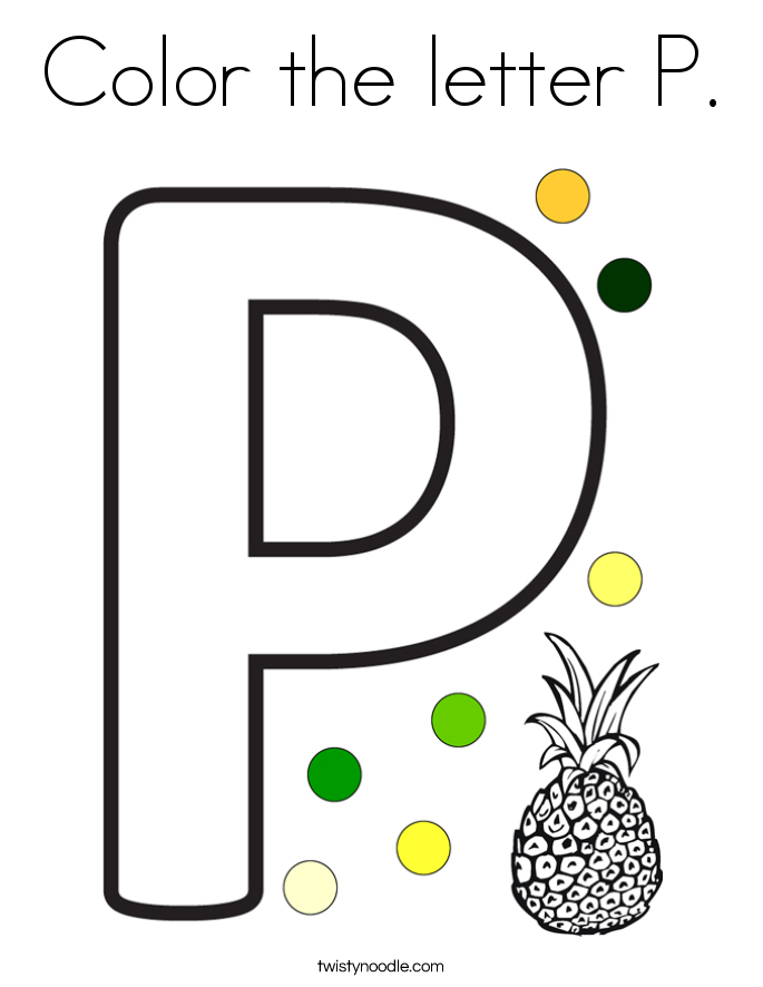 color the letter p coloring page