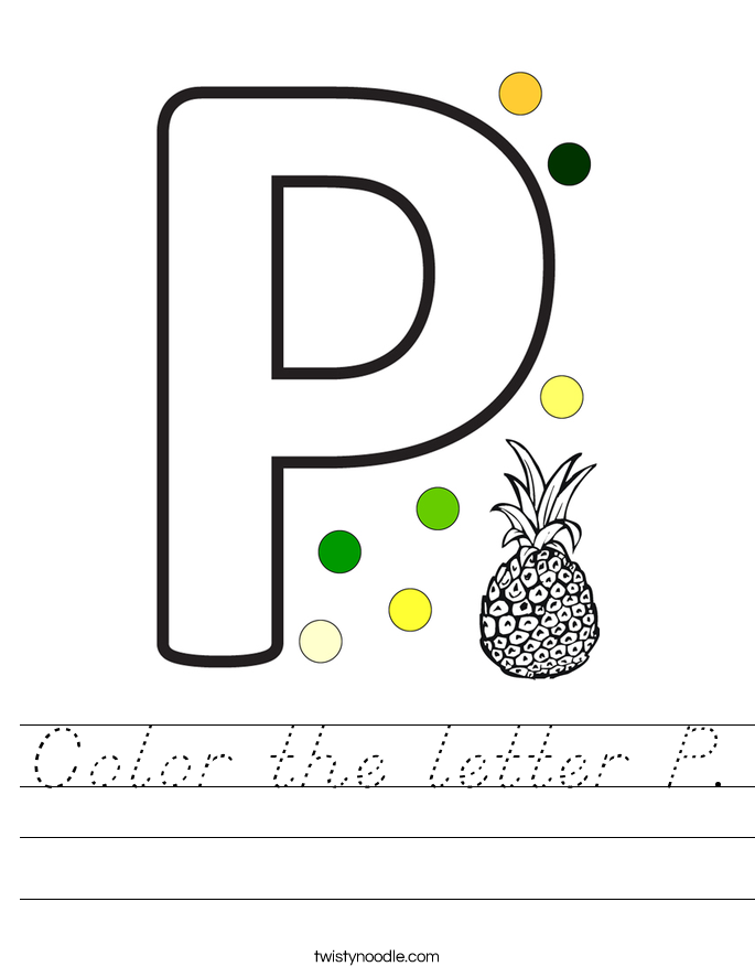 Color the letter P. Worksheet