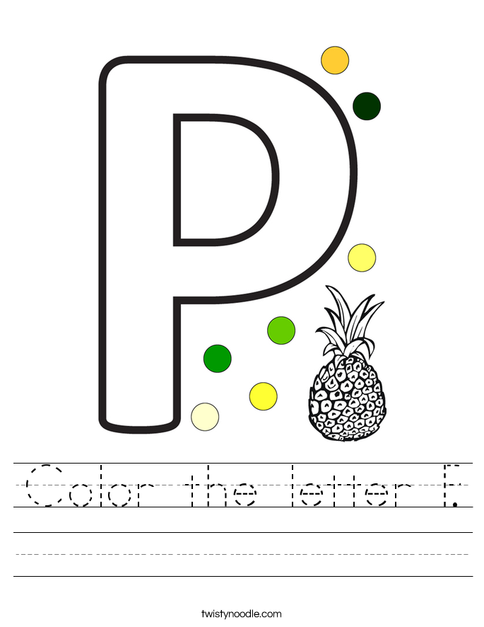 Color the letter P. Worksheet