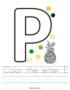Color the letter P Handwriting Sheet