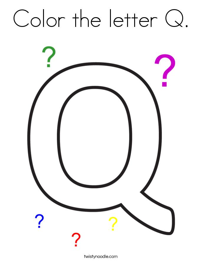 Color the letter Q Coloring Page - Twisty Noodle