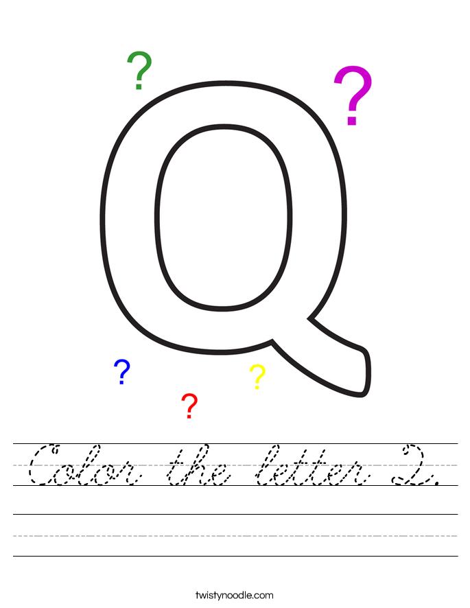 Color the letter Q. Worksheet