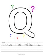 Color the letter Q Handwriting Sheet