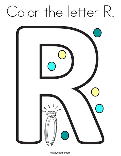 color the letter r coloring page