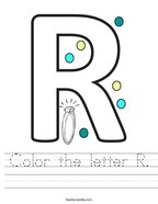 Color the letter R Handwriting Sheet