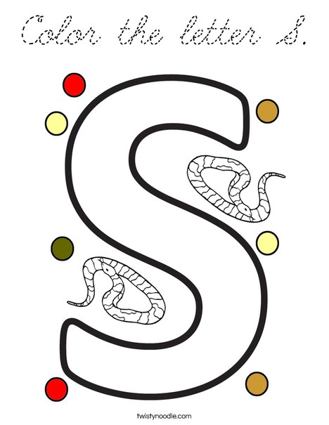 Color the letter S. Coloring Page