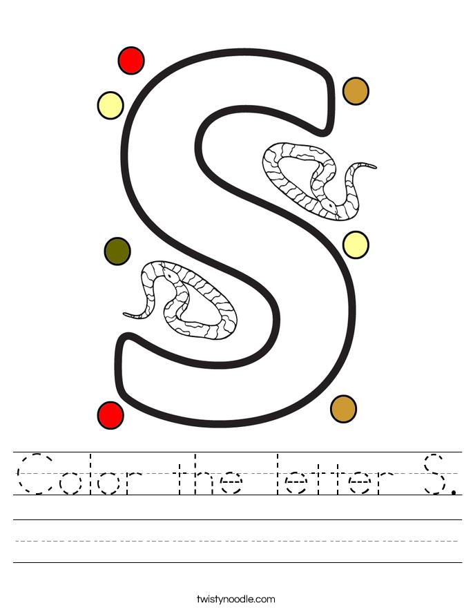 Color the letter S. Worksheet