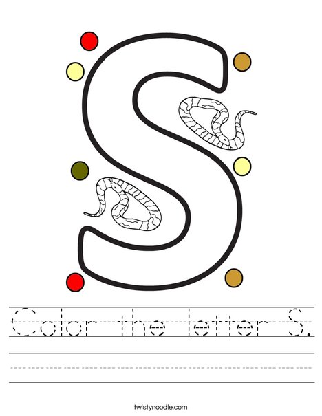 Color the letter S. Worksheet