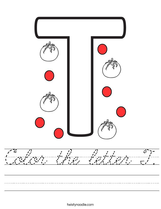 Color the letter T. Worksheet